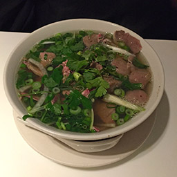Classic beef pho, with extra meatballs