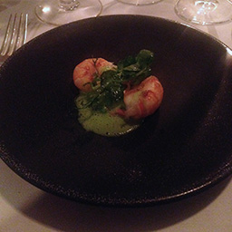 Scottish langoustine with fresh peas, pea puree and bacon