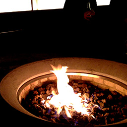 The firepit and outdoor seating